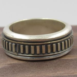 Size 7 Sterling Silver Spinning Anxiety Band Ring